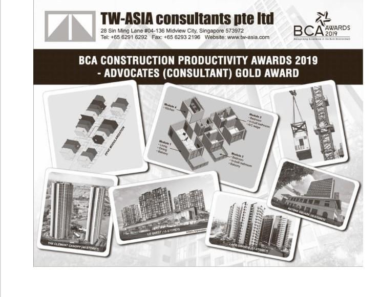 TW-ASIA PTE LTD is awarded Construction Productivity Award 2019 by BCA